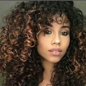 New Ombre Women Wig Black/Blonde Afro Kinky Curly…